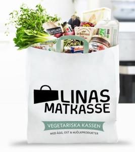 Vegetarisk matkasse från Linas. (Bild från www.linasmatkasse.se)